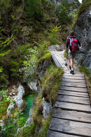 Young Girl Hiking Beneath Clear And Wild Mountain River In Green Canyon In Ötschergräben In Austria