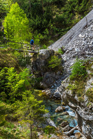 Young Man Hiking Beneath Clear And Wild Mountain River In Green Canyon In Ötschergräben In Austria