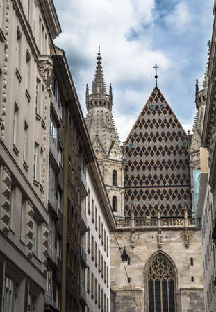 View Through Narrow Alley To The Famous Cathedral Stephansdom In The Inner City Of Vienna In Austria