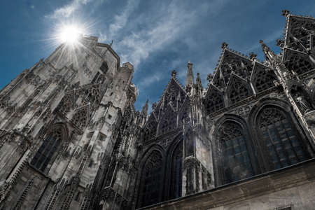 Bright Sun Shines Over Cathedral Stephansdom In The Inner City Of Vienna In Austria Imagens