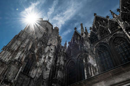 Bright Sun Shines Over Cathedral Stephansdom In The Inner City Of Vienna In Austria Editorial