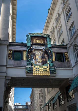 Ankeruhr (Anker clock), Famous Astronomical Art Nouveau Clock On Hoher Markt in Vienna Austria, Build By Franz Matsch In 1914 Editorial