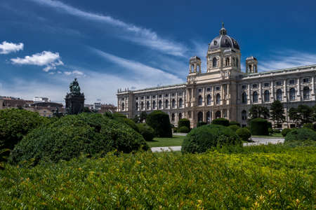 Historic Building Of The Museum Of Natural History Beneath The Sculpture And Memorial For Empress Maria Theresia In The Inner City Of Vienna In Austria