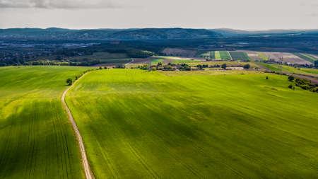 Narrow Gravel Path Between Green Fields in Rural Landscape To City In The Distance In Austria 版權商用圖片