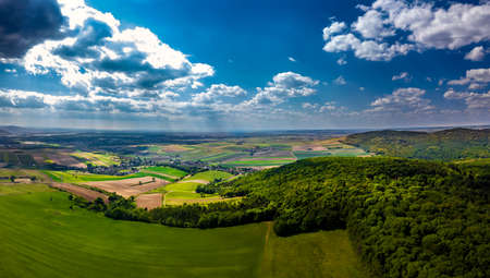 Rural Landscape With Forests, Farmland And Scattered Villages In Austria