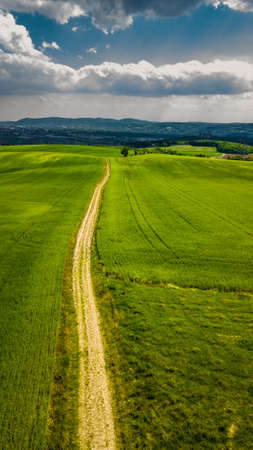 Narrow Gravel Path Between Green Fields in Rural Landscape To City In The Distance In Austria Imagens