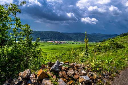 Heavy Thunderclouds Over Vineyards In Wachau Danube Valley In Austria Reklamní fotografie