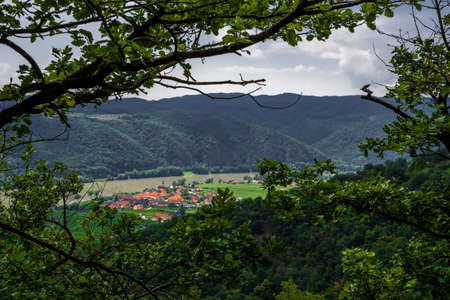 Vineyards And Settlement Beneath River Danube In Wachau Valley In Austria Reklamní fotografie