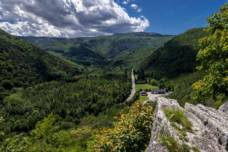 Panoramic View Of The Green Valley Helenental In Austria