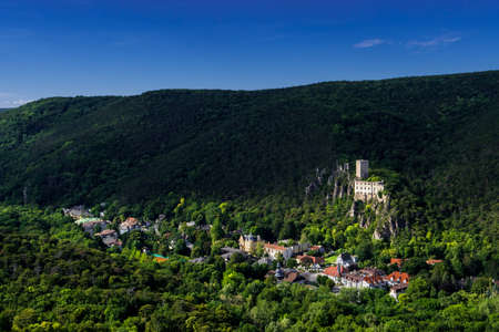 Green Valley Helenental With Remote Settlement, Castle Ruins And Villas At Baden Near Vienna In Austria