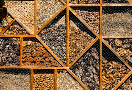 Insect Hotel With Compartments As Shelter For Animals To Improve Biodiversity