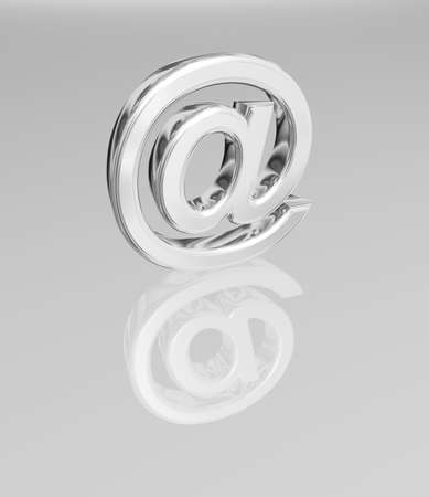 3D render of an Email symbol made of chrome include a clipping path.