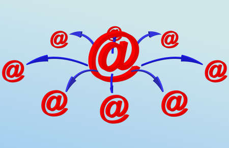 An Illustration representing communication via Email. 3D Email symbols in vector.