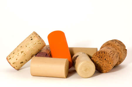 Macro of many different wine cork, isolated on white