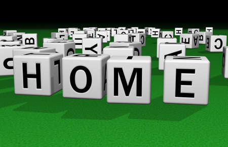 dice on a green carpet making the word HOME Stock Photo - 2658538
