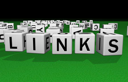 syntax: dice on a green carpet making the word Links Stock Photo