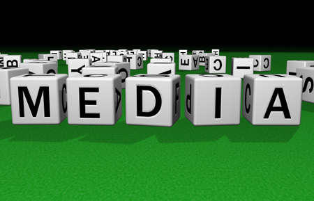dice on a green carpet making the word Media Stock Photo - 2658530