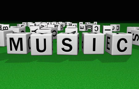 website words: dice on a green carpet making the word Music Stock Photo