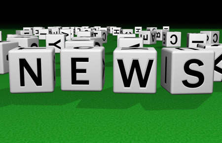 dice on a green carpet making the word news Stock Photo - 2658532