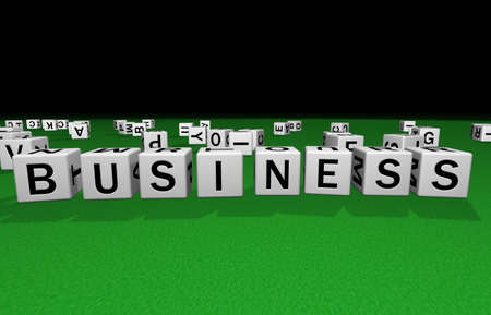 syntax: dice on a green carpet making the word business