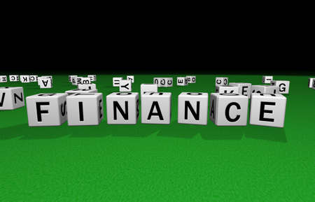 syntax: dice on a green carpet making the word finance