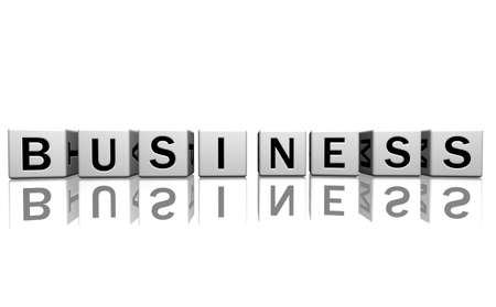 dice isolated on a white reflecting floor making the word business Stock Photo - 2685375