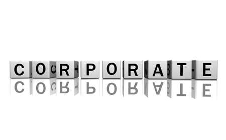 dice isolated on a white reflecting floor making the word corporate Stock Photo - 2685372