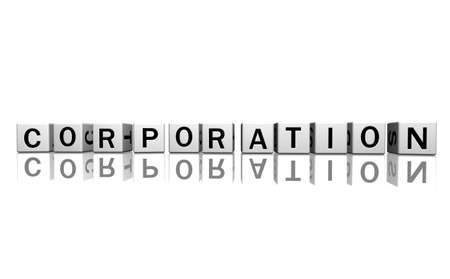 syntax: dice isolated on a white reflecting floor making the word corporation