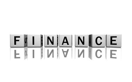 dice isolated on a white reflecting floor making the word finance Stock Photo - 2685370