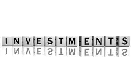 dice isolated on a white reflecting floor making the word investments