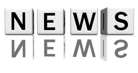 dice isolated on a reflecting white ground, making the word news Stock Photo - 2685382