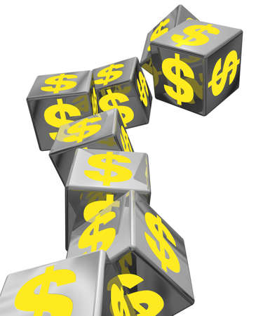 An unstable pile of block with yellow money symbols falling down