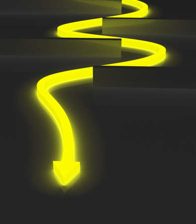 Glowing yellow arrow twisting to avoid obstacles Stock Photo