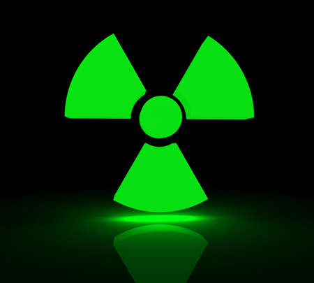 radium: Glowing symbol for radioactive substances. 3d render.