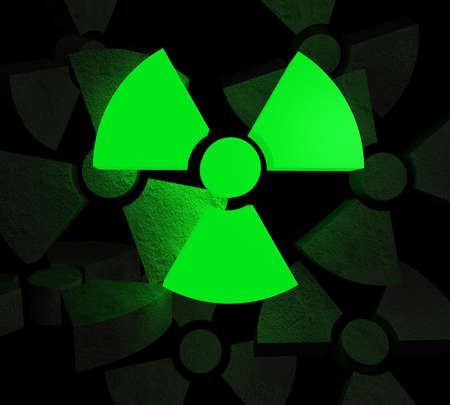 poison symbol: Glowing radioactive symbol in front of many stone made symbols Stock Photo