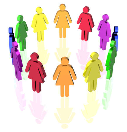 gay flag colored woman signs placed in circle
