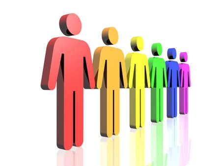 bandera gay: una fila de colores bandera gay hombre signos  Foto de archivo