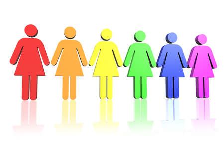 bandera gay: gay bandera de color fila de signos mujer  Foto de archivo