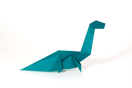 a seismosaurus origami dinosaur made of blue paper