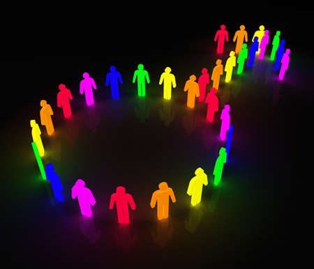 gay men: man symbol made of little rainbow colored characters
