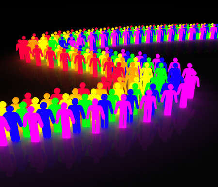 rainbow wave made of multicolored man character Stock Photo