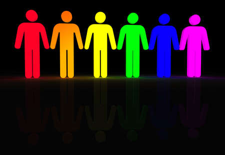 rainbow colored 3d glowing men symbols Stock Photo