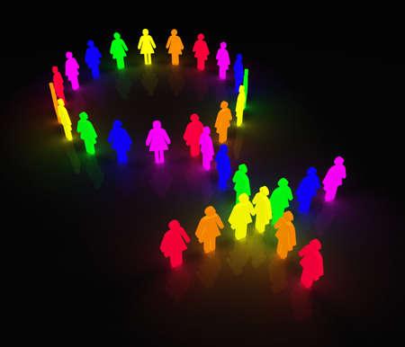 lesbienne: femme symbole de peu de caract�res de couleur arc-en-ciel