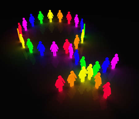 woman symbol made of little rainbow colored characters Stock Photo
