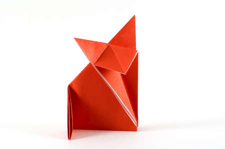 paper sheet: origami folding  paper in the shape of a fox Stock Photo