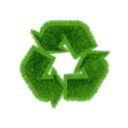 3D recycling symbol with growing grass on all surfaces. on white background. Stock Photo