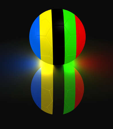 colord: glowing soccer ball with sports competition colord stripes Stock Photo
