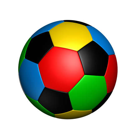 soccer ball with colored with the same color as sports competition rings Stock Photo