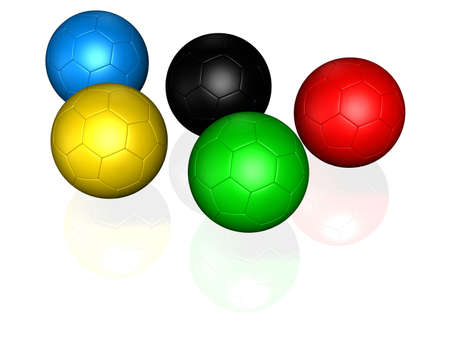 3d ball: soccer ball colored with the same color as sports competition games logo
