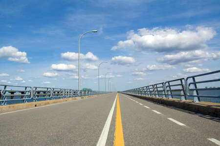 bicycle lane: A bicycle lane on a very long bridge